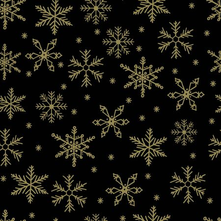 Snowflake simple vector seamless pattern. Gold snow on black background. Abstract wallpaper and wrapping decoration. Symbol of winter, Merry Christmas holiday, Happy New Year celebration. Vetores