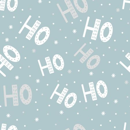 Seamless pattern of scandinavian lettering hohoho. White letter and snow on blue background. Symbol of winter, Merry Christmas holiday, Happy New Year celebration. Ilustração