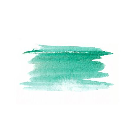 Blue watercolor abstract background. Beautiful spreading paint on white watercolor paper. Hand painting. Picture for desktop or greeting card.