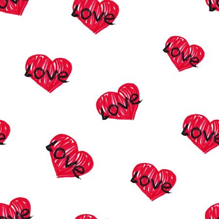 Cute doodle style hearts seamless pattern. Valentines Day handwritten background. Marker drawn different heart shapes and silhouettes. Hand drawn ornament.