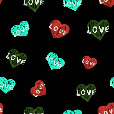 Cute doodle style hearts seamless pattern. Valentines Day handwritten black background. Marker drawn different heart shapes and silhouettes. Hand drawn ornament. Stockfoto