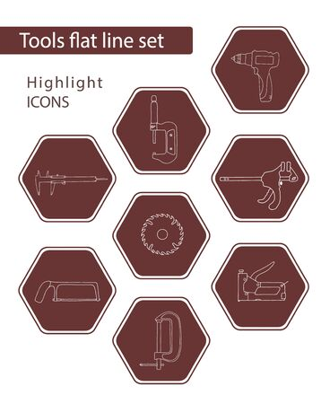 Set of 8 vector icons in maroon hexagon for web stores, scrapbooking, bullet journals, blogging, etc. Highlights Stories Icons. Simple tools related vector icons.