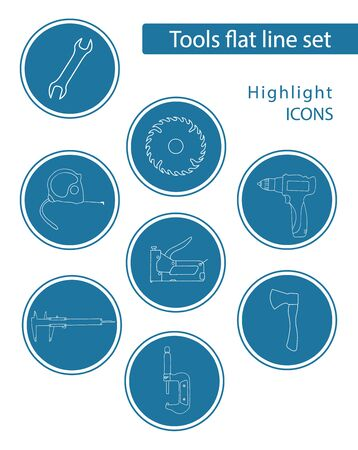 Set of 8 vector icons in blue circle for web stores, scrapbooking, bullet journals, blogging, etc. Highlights Stories Icons. Simple tools related vector icons.