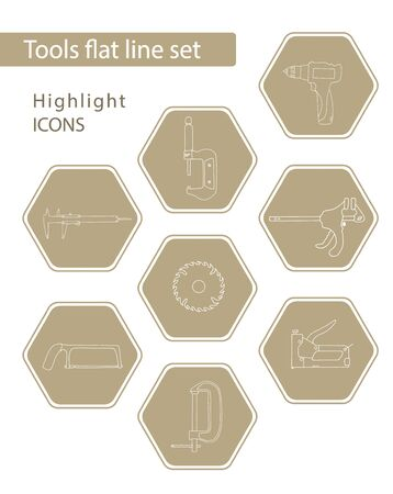 Set of 8 vector icons in beige hexagon for web stores, scrapbooking, bullet journals, blogging, etc. Highlights Stories Icons. Simple tools related vector icons.