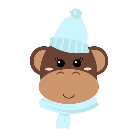 Cute hand drawn smiling monkey. Cartoon zoo. Vector illustration. Illustration