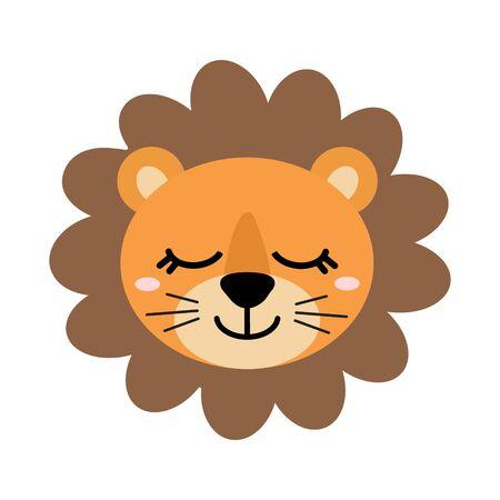 Cute hand drawn smiling lion. Cartoon zoo. Vector illustration. Illustration