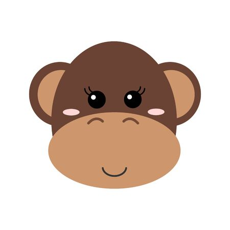 Cute hand drawn smiling monkey. Cartoon zoo. Vector illustration. Animal for the design of childrens products in scandinavian style.