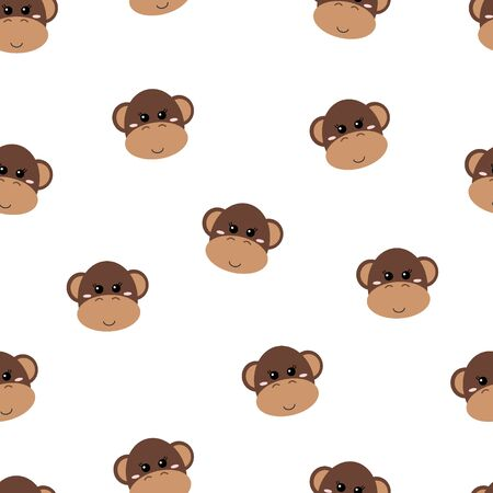 Seamless pattern of cute hand drawn smiling monkey. Cartoon zoo. Vector illustration. Animal for the design of childrens products in scandinavian style. Illustration