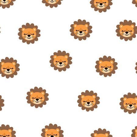 Patrón sin fisuras de lindo león sonriente dibujado a mano. Zoológico de dibujos animados. Ilustración de vector. Animal para el diseño de productos infantiles en estilo escandinavo. Ilustración de vector