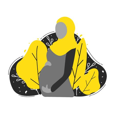 Muslim pregnant woman wearing abaya and yellow hijab. Modern flat style vector illustration isolated on white background.