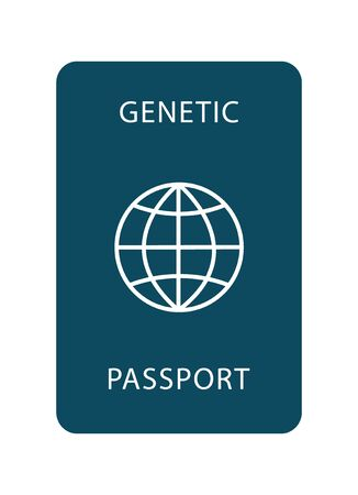 Genetic passport with a DNA sign. Modern flat design icon. The document of the future. 矢量图像