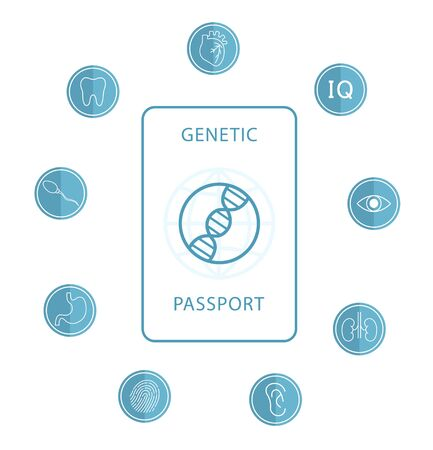 Genetic passport with a DNA sign. Modern flat design icon. The medical document of the future.