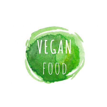 Vegan food. Eco, organic labels. Green abstract hand drawn watercolor background. Natural, organic food, bio, eco design elements.