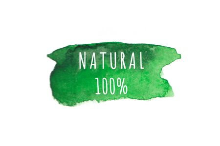 Eco, organic labels. Green abstract hand drawn watercolor background. Natural, organic food or cosmetic, bio, eco design elements.