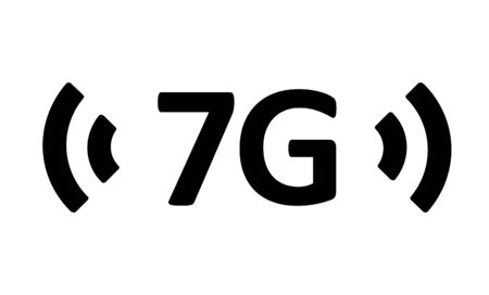 Mobile devices telecommunication business web networking. 7th Generation Wireless Internet Network Connection Information Technology. 7G vector icon. Ilustrace