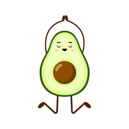Avocado yoga. Avocado character design on white background. Yoga for pregnant women. Morning exercises for children. Cute illustration for greeting cards, stickers, fabric, websites and prints. Çizim