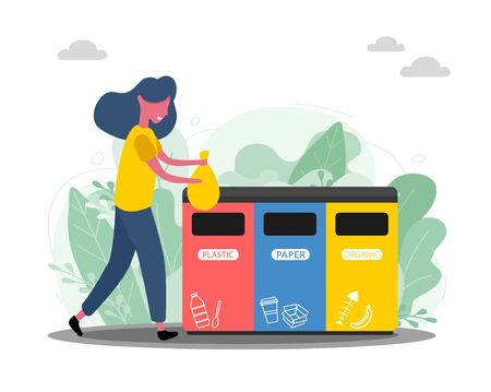 Happy woman throws away trash into trash bin with recycling symbol. Garbage Ecology and recycle concept. Utilize waste social illustration. Female character in trendy flat style. Waste sorting Çizim