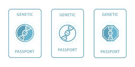Set of genetic passport with a DNA sign. Modern flat design icon. The medical document of the future.