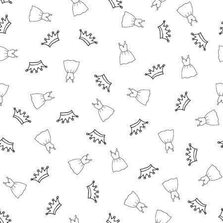 Nahtloses Muster mit handgezeichneter Krone und Kleid. Dekoratives Doodle-Element für Stoff und Packpapier. Stellen Sie Schönheits-Make-up für süße Mädchen ein. Vektorillustration lokalisiert auf einem weißen Hintergrund.