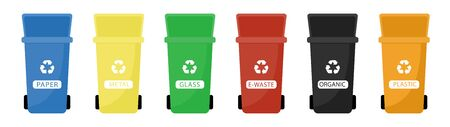 Garbage cans vector flat illustrations. Sorting garbage. Ecology and recycle concept. Colorful open recycle trash bins isolated on white background.
