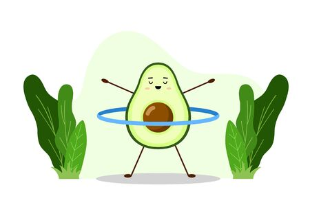 Avocado sport with hoop. Avocado character design on white background. Morning exercises or yoga for pregnant women. Cute illustration for greeting cards, stickers, fabric, websites and prints.