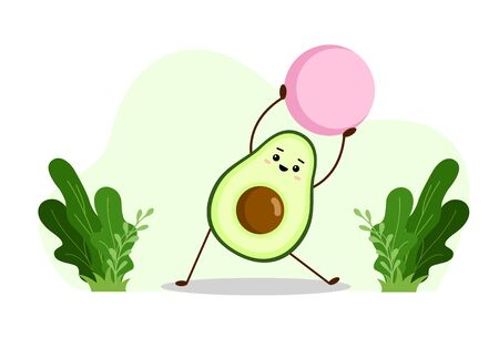 Avocado yoga with fitball. Avocado character design on white background. Yoga for pregnant women. Morning exercises for children. Cute illustration for greeting cards, stickers, fabric, and prints.