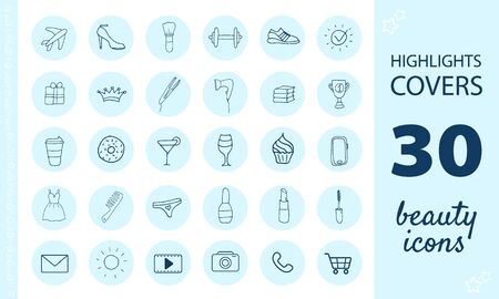 Highlights Stories Covers for popular social media. Perfect for bloggers. Set of hand drawn signs. Beautiful simple vector icons.