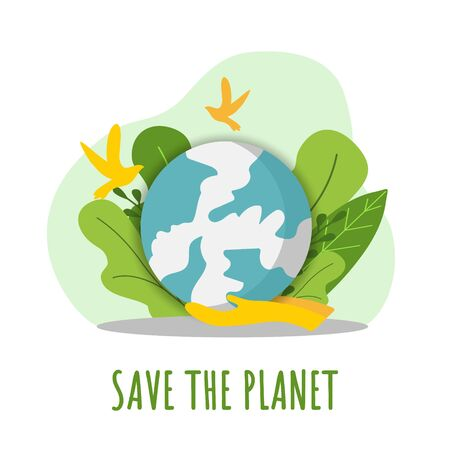 Save planet. Flat design ecology concept with natural elements. Mother earth day