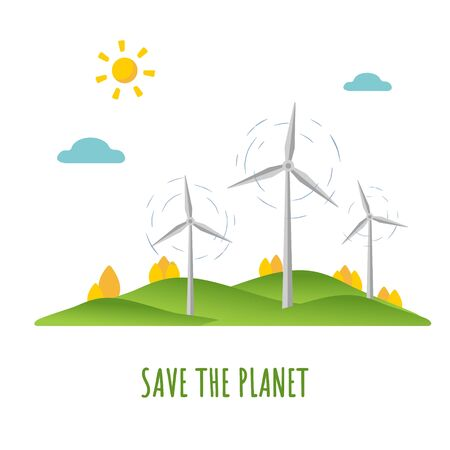 Save planet. Flat design ecology concept with natural elements. Mother earth day. Wind energy Illustration