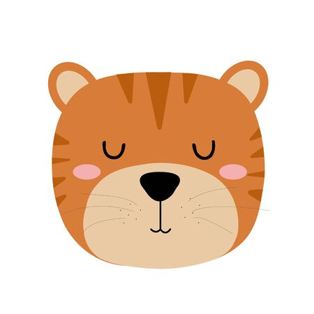 Cute hand drawn sleeping tiger. Cartoon zoo. Vector illustration. Animal for the design of childrens products in scandinavian style.