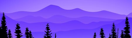 Mountains banner. Smokey rocky panorama with mountains skyline and pine tree forest silhouettes