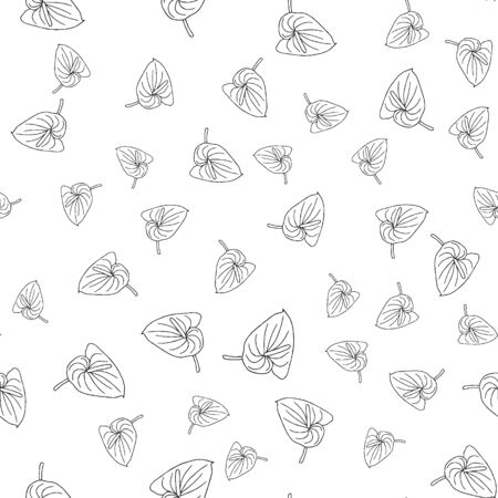 Seamless pattern of doodle flowers. Hand drawn jungle flower anthurium on a white background. Decorative vector exotic tropical element for invitations cards, textile, print and design.