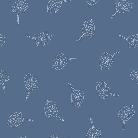 Seamless pattern of doodle flowers. Hand drawn jungle flower anthurium on a blue background. Decorative vector exotic tropical element for invitations cards, textile, print and design.