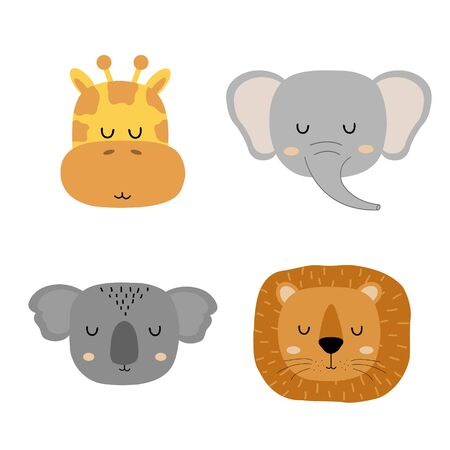 Set of cute hand drawn slleping animals - giraffe, elephant, lion and koala. Cartoon zoo. Vector illustration. Animals for the design of children's products in scandinavian style