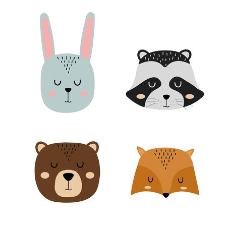 Set of cute hand drawn slleping animals - hare, raccoon, bear and fox. Cartoon zoo. Vector illustration. Animals for the design of childrens products in scandinavian style.