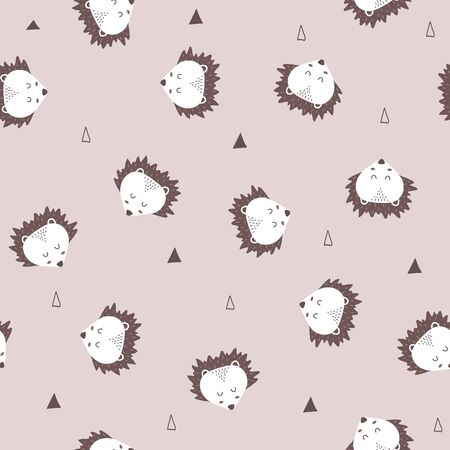 Seamless pattern of cute hand drawn sleeping hedgehog on soft background. Cartoon zoo. Vector illustration. Animal for design of childrens products in scandinavian style. 向量圖像