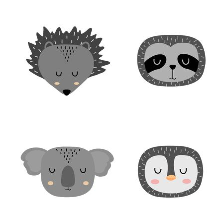 Set of cute hand drawn slleping animals - hedgehog, sloth, koala and penguin. Cartoon zoo. Vector illustration. Animals for the design of childrens products in scandinavian style.