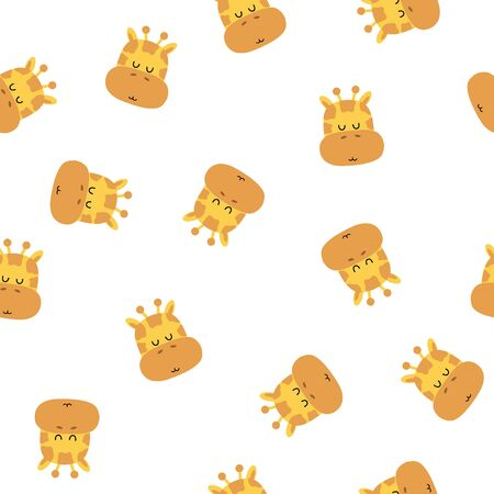 Seamless pattern of cute hand drawn sleeping giraffe. Cartoon zoo. Vector illustration. Animal for the design of childrens products in scandinavian style.