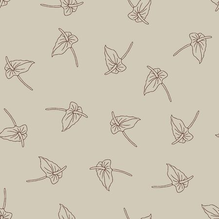 Seamless pattern of doodle flowers. Hand drawn jungle flower anthurium on a beige background. Decorative vector exotic tropical element for invitations cards, textile, print and design. 向量圖像