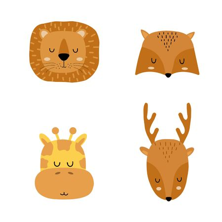 Set of cute hand drawn slleping animals - lion, fox, giraffe and deer. Cartoon zoo. Vector illustration. Animals for the design of childrens products in scandinavian style