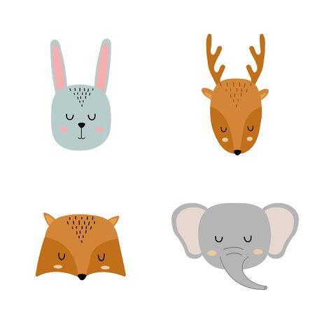 Set of cute hand drawn slleping animals - hare, deer, fox and elephant. Cartoon zoo. Vector illustration. Animals for the design of childrens products in scandinavian style.
