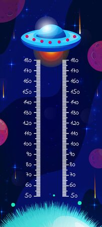 Kids space height chart, cosmic wall meter with cartoon fantasy ufo and planets. Vector template. Vector Illustration