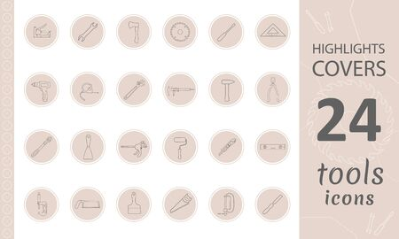 Highlights Stories Covers for popular social media. Perfect for bloggers. Set of hand drawn signs. Doodle tools simple vector icons.