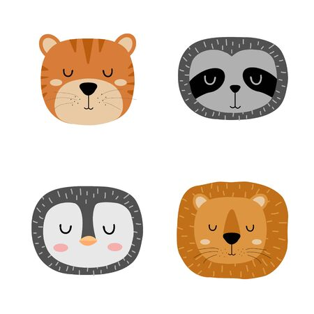 Set of cute hand drawn slleping animals - tiger, sloth, penguin and lion. Cartoon zoo. Vector illustration. Animals for the design of childrens products in scandinavian style.