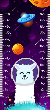 Kids space height chart. Cosmic wall meter with cute llama and cartoon fantasy planets. Vector template.