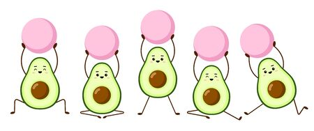 Set of avocado yoga with pink fitball. Avocado character design on white background. Morning exercises or yoga for pregnant women. Cute illustration for greeting cards, stickers, websites and prints Stock Illustratie