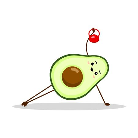 Avocado sport with red weight. Avocado character design on white background. Morning exercises. Cute illustration for greeting cards, stickers, fabric, websites and prints.