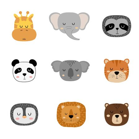 Set of cute hand drawn slleping animals. Cartoon zoo. Vector illustration. Animals for the design of childrens products in scandinavian style.