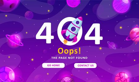 Error 404, page not found. Space exploration modern background. Cute gradient template with planets and stars for poster, banner or website page. Ilustração