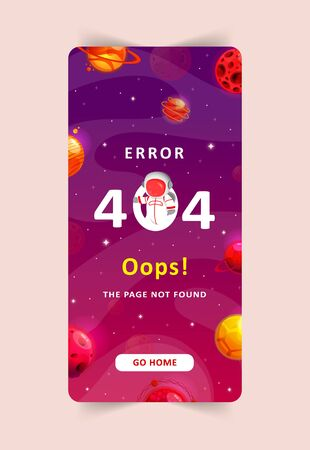 Error 404, page not found. Space exploration modern background. Cute mobile template with planets and stars for poster, banner or website page.